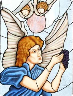 Stained Glass of Angel with a bunch of grapes