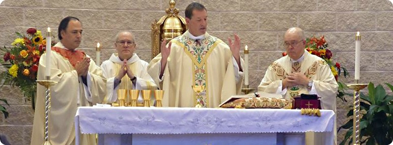 Priest celebrating Mass during liturgy of the Eucharist with concelebrating clergy